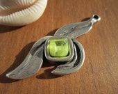 Lime leaf resin Stone charm pendant silver color with sterling silver plated 8 micras coat