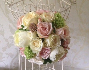 Artificial Vintage Style pinks Creams Greens Roses Hand Tied Bouquet
