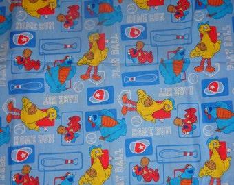 Blue Sesame Street Baseball Fabric by the Yard
