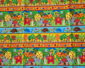 Multicolor Jungle/Forest Cotton Fabric by the Yard