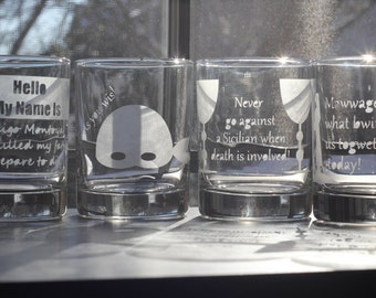 The Princess Bride Quotes Etched Rocks Glasses (set of 4)