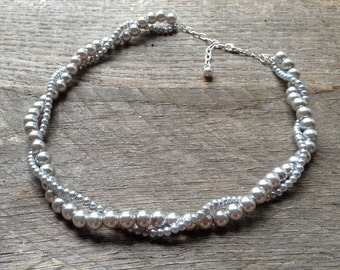 Silver Pearl Bridal Necklace, Wedding Necklace, Twisted Pearl Necklace, Simple Necklace on Silver or Gold Chain