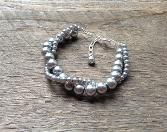 Pewter Pearl Bracelet Bridal Bracelet Twisted Clusters on Silver or Gold Chain