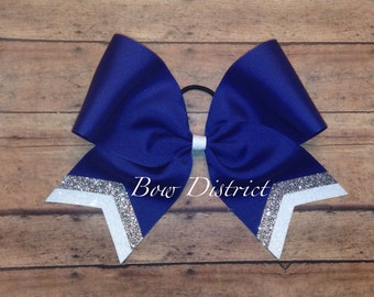 """3"""" Royal Blue Team Cheer Softball Volleyball Bow with Silver and White Glitter Tail Stripes"""