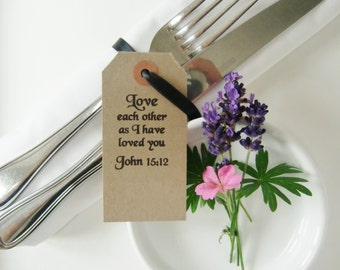 Rustic Wedding Table Place Cards-LOVE EACH OTHER-Wedding Place Cards with Religious Text-Vintage Type Tags-Rustic Wedding Table-Weddings