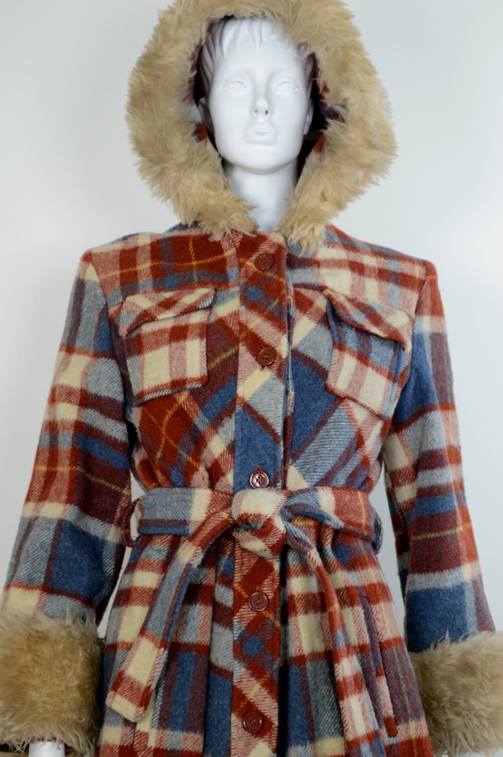 Plaid 1960s Swing Coat