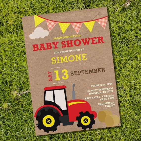 vintage farm tractor baby shower invitation instantly downloadable
