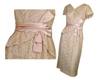 50s Wiggle Dress Beige Lace Party Dress M A DuBarry Fashion
