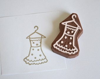 Hand Carved Rubber Stamp / Dress / Polka dot Dress