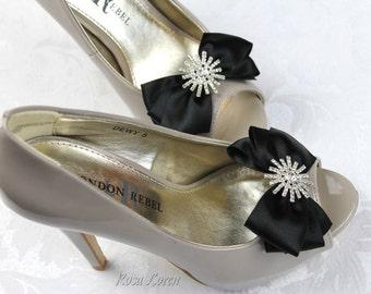 Black Satin Shoe Clips, Black Bow Shoe Clip, Bling Wedding Accessories Shoes Clip, Wedding Shoe Clips