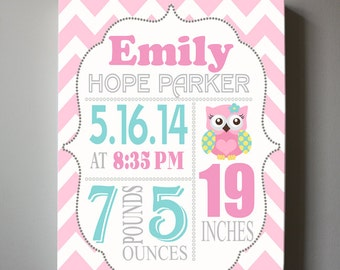 Birth Announcement Wall Art - Baby Gift - Baby Birth Announcement Canvas Print, Pink and Aqua Decor