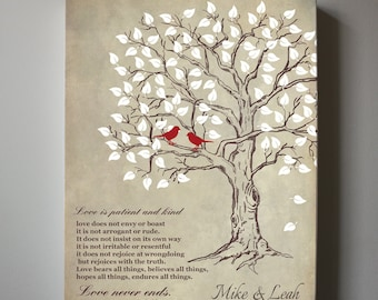 Love is Patient Love is Kind Personalized Family Name Sign, Canvas Art, Anniversary Christmas Gift, Wedding sign