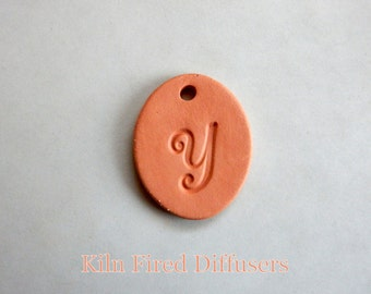 Diffuser Clay Necklace, Letter Y, Alphabet Pendant, Monogram Jewelry, Aromatherapy Essential Oil Diffuser,  DIY Necklace