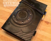 Leather Suede Black Steampunk Journal iPad Mini Cover + Porthole