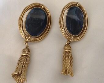 Vintage Oval Blue Swirl Cabochon Rope Tassel Clip Earrings