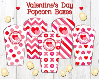 Valentine's Day Popcorn Boxes - Instant Download