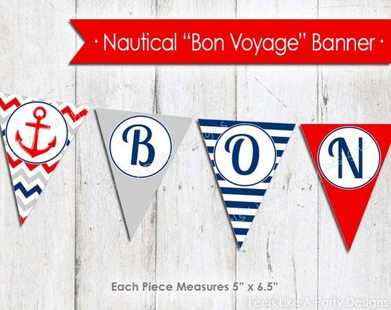 nautical bon voyage banner instant download