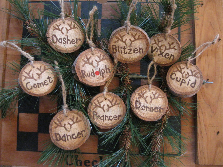 deer ornaments 9 deer tree slice christmas ornaments reindeer. Black Bedroom Furniture Sets. Home Design Ideas