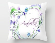 Personalized Butterfly Heart Throw Pillow Cover : Unique purple heart pillow related items Etsy