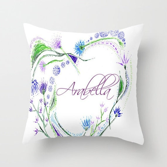 Personalized Heart Throw Pillow : Items similar to Personalized Throw Pillow Cover with Floral Heart, personalized pillow, heart ...