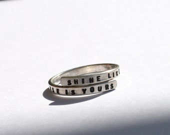 Rumi handstamped Silver Lyric Ring 'shine like the whole universe is yours' Sterling Silver -Adjustable