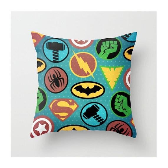 Superheros Throw Pillow, Superhero Pillow Cover, Batman, Colorful, Children's Pillow, Kid's Bedroom Decor, Boy's Pillow, Home Decor, Bedding