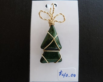 Gold wire wrapped Christmas tree pendant