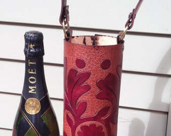 Wine Quiver / Wine Tote Tooled Leather in Burgundy and Brown - FRONDE