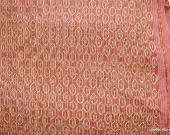Vegetable Dye HandPrinted Geometric Print Textured Pure Tussah Silk Fabric Sold by Yard