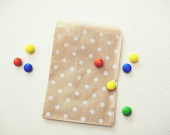 Party Favor Bags Envelopes Pouches. Polka Dots Kraft Brown Paper Bags. Candy Bags. Cookie Bags. Once Upon Supplies