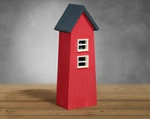 Decor small house - little wooden house in red and blue mik paint miniature architecture