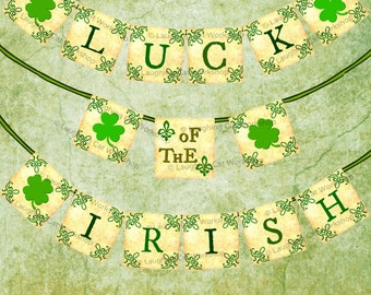 St Patricks Day Banner Printable St Patricks Day Banner Luck of the Irish St Pattys wall decoration Irish banner Printable Irish wall decor