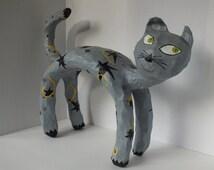 Gray Paper Mache Cat