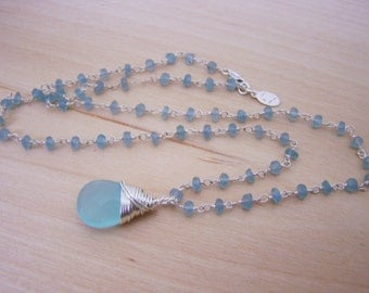 Teardrop Dainty Aquamarine Blue Briolette Sterling Silver Wire Wrapped Necklace / Gift for Her