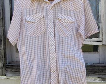 70s Border Town Plaid Short Sleeve Western Shirt, Men's M // Vintage Cowboy Shirt