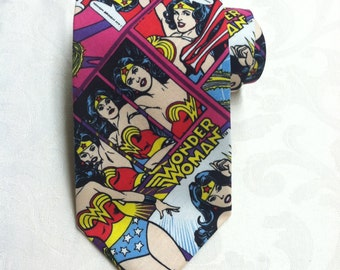Wonder Woman Comics Themed Necktie Hand Sewn Mens / Womens Tie Super Hero