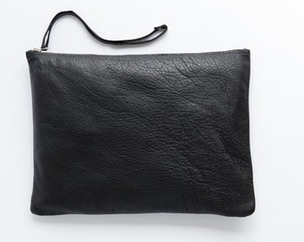 Black leather clutch - Oversized clutch - Clutch purse by Mayko Bags
