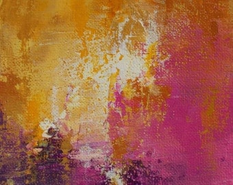 """September 27 - Original Abstract Painting 4.5""""x7.5"""" with 8""""x10"""" inch mat by Jagoda Lane"""