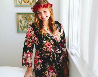 213, floral kimono crossover robe, CUSTOM, Bridesmaids robe, spa robe, beach cover up, dressing up robe, maternity, bride, bridal party