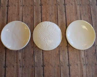 Set of 3 Lace Impressed Cookie Plates