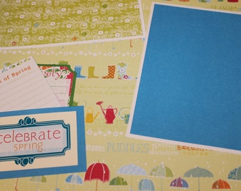 SPRING SCRAPBOOK PAGE -12 x 12 layout - premade scrapbook page -