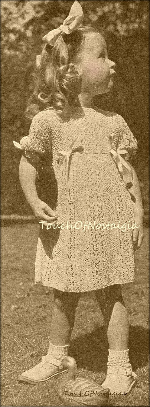 Knitting Patterns Lace Dress : Knit LACE DRESS Knitting Pattern - Beautiful HEIRLOOM Lace Dress Frock Lacy D...