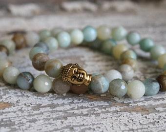 Buddha bracelet/ buddha jewelry/ beaded bracelet/ amazonite/ gold jewelry/ gold bracelet