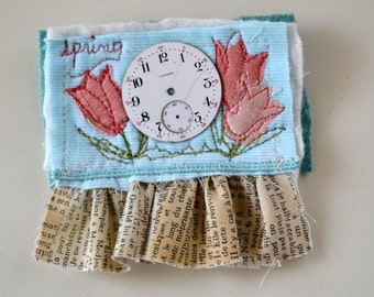 Textile Brooch Fabric Collage Brooch Whimsical Jewelry Quilt Brooch Pam George Quilts Shabby Chic Folk Style Handmade Brooch