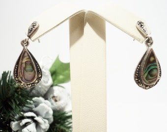 Abalone and Marcasites Silver Post Earrings