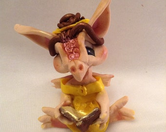 Belle Draegans Dragons ooak clay art sculpture