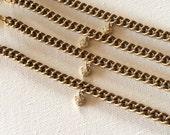 Vintage chain with heart charm bracelet. Handmade by aboutprettythings
