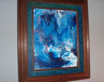 Vintage Abstract Painting Canvas Blue Art Nouveau