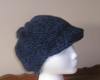 Hand Knitted Newsboy Hat - Denim Twist - Male or Female - Teen to Adult