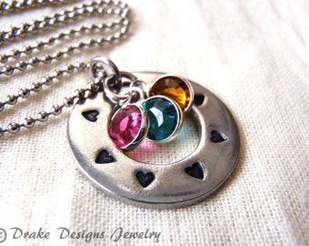 Birthstone necklace personalize for mom